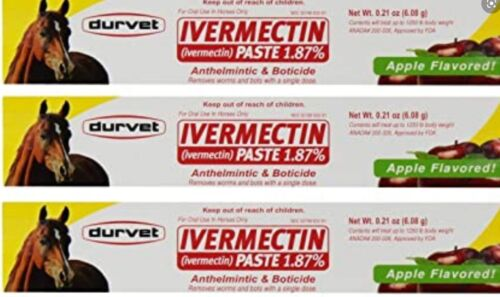 Durvet Apple Flavored Horse Wormer 1.87% Horse Bot Parasites Equine Wormer (x3)