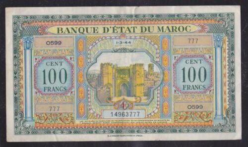 1944 Morocco 100 Francs.