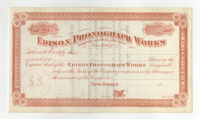 Edison Phonograph Works Stock Certificate