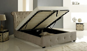 Epsilon ottoman mink fabric storage bed frame 5ft for Diy ottoman bed frame