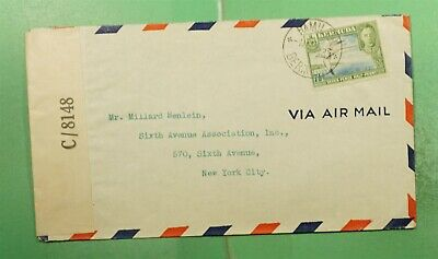 DR WHO 1943 BERMUDA HAMILTON AIRMAIL TO USA WWII CENSORED  g15148