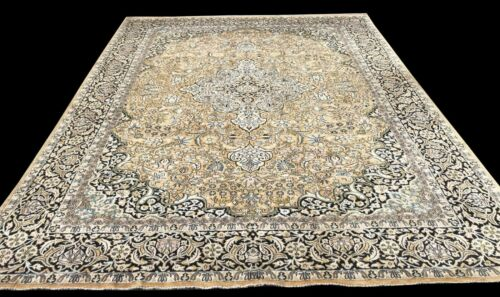 Amazing Hand Knotted Vintage Kashmir Kashmiri Silk Area Rug 12 x 9 Ft (4543 KBN)