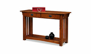 Leick Furniture 8233 Mission Sofa Table With Drawers And Shelf Medium Oak Finish
