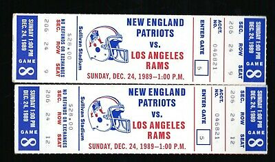 2 Dec 24, 1989 New England Patriots & Los Angeles Rams Full Tickets Bell 210 Yrd
