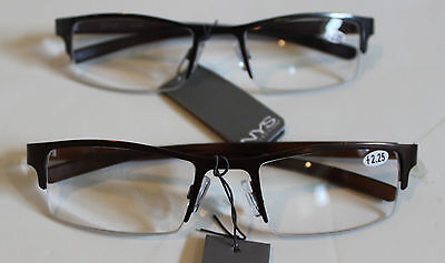 NYS Reading Glasses 2.25 Strenght Brown & Black Bottomless Frames Gorgeous (Nys Glasses)