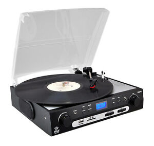 Pyle-PLTTB9U-Turntable-33-45-78-RPM-Vinyl-to-USB-SD-Transfer-AM-FM-W-Speakers