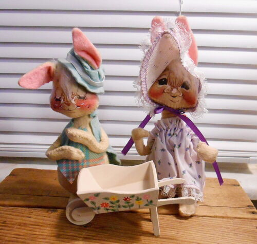 "Vintage Annalee 6"" Easter Bunny Rabbit  Couple"