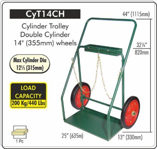 "CYLINDER Cart 14"" WHEELS, Welding Oxygen Acetylene Cylinder Cart, CYT-14CH"