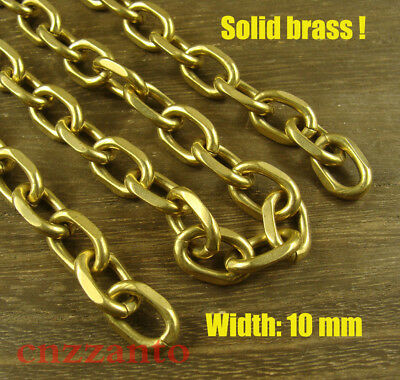10mm width 1 foot brass cable chain for wallet Fob key chain crafts use L014 ()
