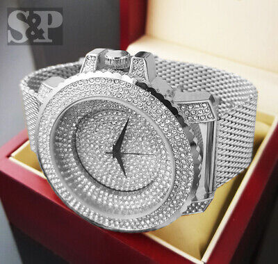 Men Rick Ross Bling Iced Silver Plated Stainless Steel Mesh Band Rapper Watch