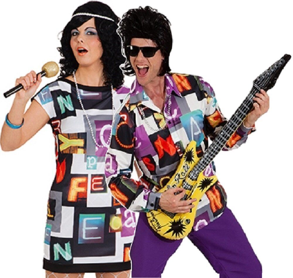 Couples Ladies AND Mens 70s Disco Seventies 1970s Fancy Dress Costumes Outfits