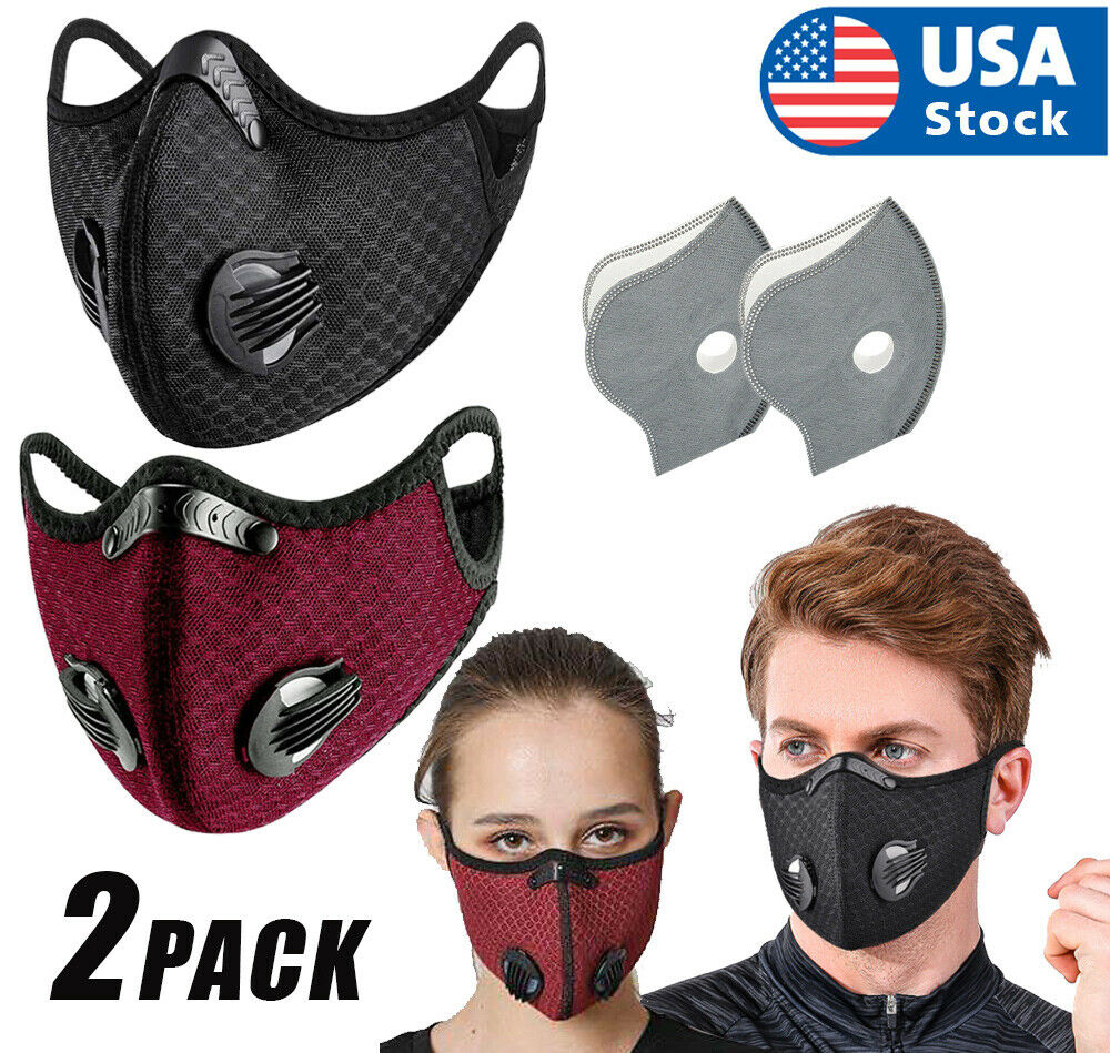 2PCS Activated Carbon Air Purifying Face Mask Cycling Reusable Filter Haze Valve Accessories
