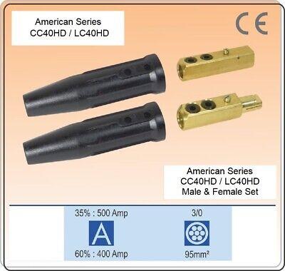 Welding Cable Connector Cc40hdlc-40hd 2 Bt Male Female Set 10-40 Twist Lock