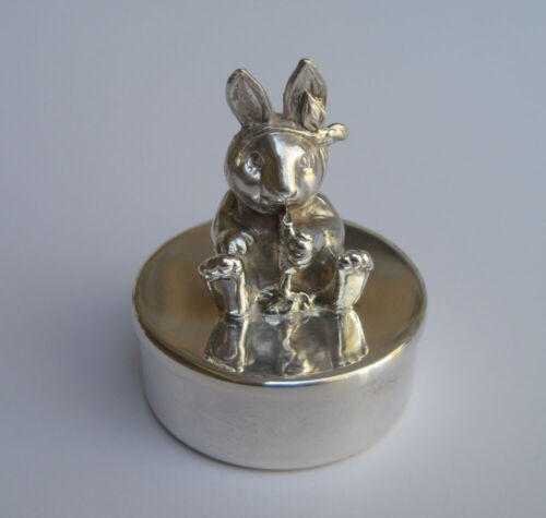 Reed & Barton Baby Bunny Rabbit Tooth Fairy Box in Silver plate