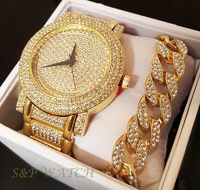 Mens Hip Hop Iced Out Rapper Bling Gold plated WATCH & Cuban Bracelet Gift Set