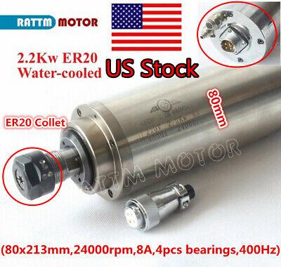 Us2.2kw Er20 Water Cooled Spindle Motor 400hz 220v 24000rpm 80mm Cnc Engraving