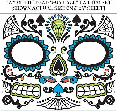 Day of the Dead Dia De Los Muertos Male Guy Face Temporary Tattoo - Dia De Los Muertos Guy