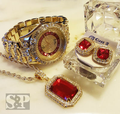 MEN HIP HOP ICED GOLD RICK ROSS WATCH & RUBY NECKLACE & EARRINGS COMBO SET