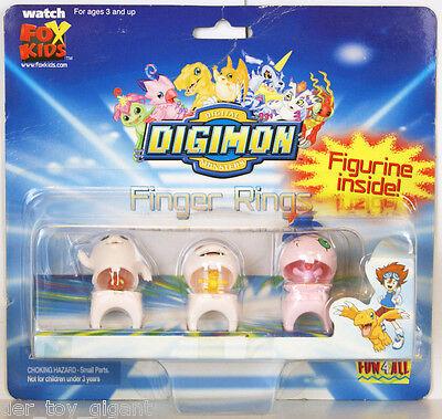 Digimon - Finger Rings - 3 Ringe mit Figuren - Motimon , Koromon & Yokomon