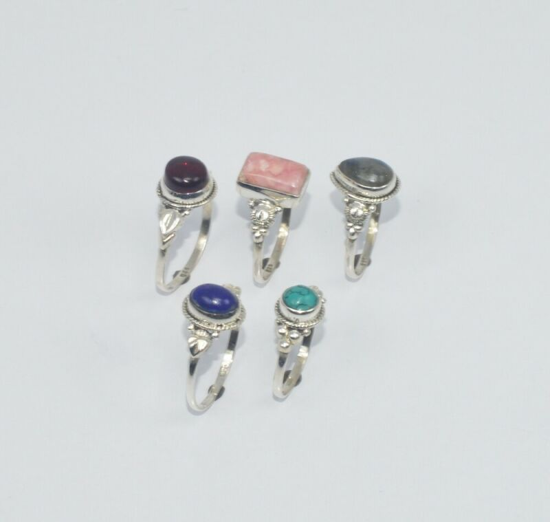WHOLESALE 5PC 925 SOLID STERLING SILVER LABRADORITE ANDMIX STONE RING LOT  O T09