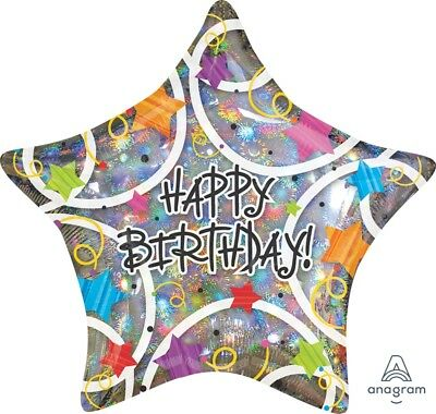New Giant 32 inch Happy Birthday Stars Holographic Balloon Anagram 13721