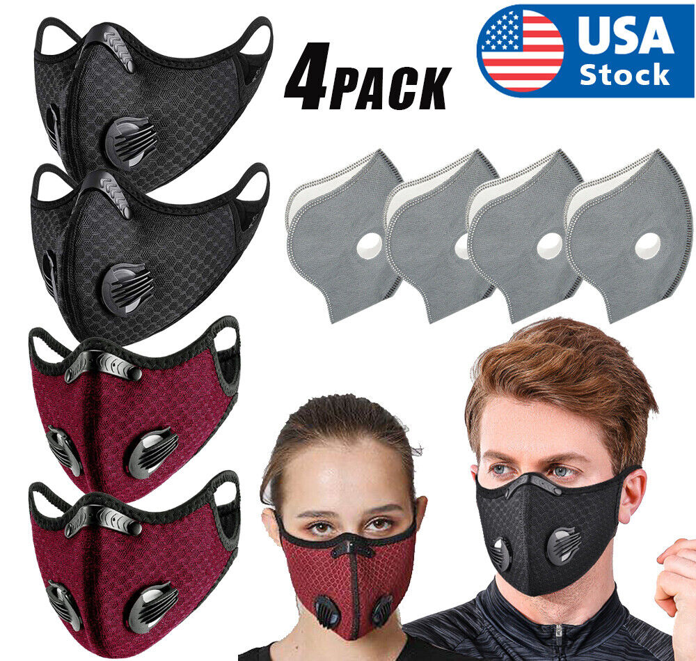 4PCS Reusable Outdoor Face Mask Valves & 5-Layer Filter – Breathable & Washable Accessories