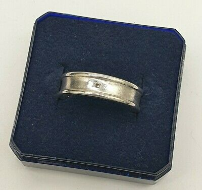 925 SOLID STERLING SILVER DIAMOND WEDDING BAND RING not scrap. Size N.