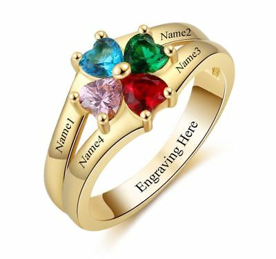 Personalized 14k Gold IP 4 Heart Birthstone & 4 Name Mothers Family Ring ()