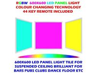 RGB Colour Changing LED Ceiling Panel Light 40W Bluetooth Smart Tile 600 x 600mm