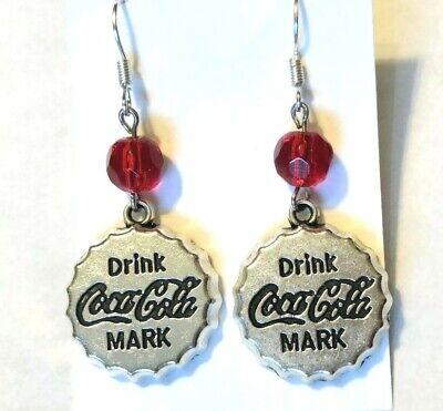 COCA-COLA Earrings - Bottle caps Pierced UNIQUE - only 1 pair avail. US Maker