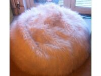 White luxury large bean bag chair