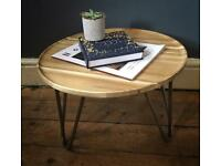 Handmade round hairpin leg side table
