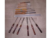 Woodturning tools for fine lathe work.