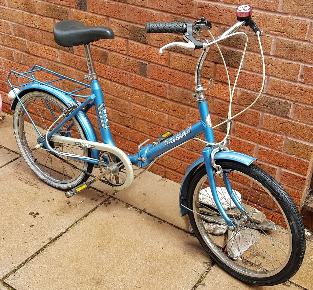 """BSA Folding Shopper Bike Retro Vintagein Torquay, DevonGumtree - BSA folding shopper. 20"""" wheels. 3 speed Sturmey Archer gears, Good brakes and tyres. Ready to ride away. Cosmetic condition is used with some surface rust and such, see photographs. Welcome to take a look and make me an offer. Thank you"""