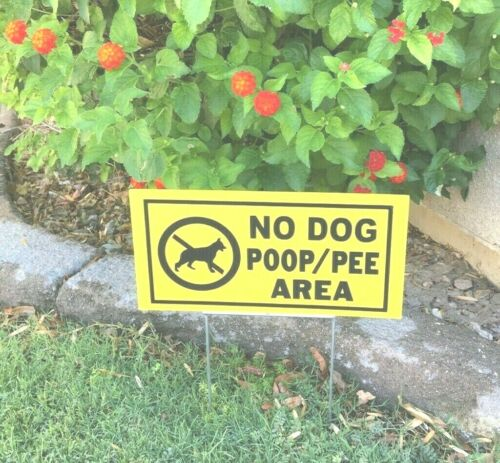 "2  no dog poop pee yard signs 12"" X 6"" No Dogs Allowed FREE SHIPPING"