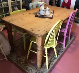 Vintage Pine Kitchen Dining Room Table