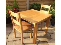 Solid Oak Dining Table And Two Chairs, Excellent.