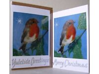 CHRISTMAS CARDS pack of FIVE - uniquely HAND FINISHED on RECYCLED card & brown envelopes