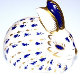 STUNNING ROYAL CROWN DERBY RABBIT PAPERWEIGHT GOLD STOPPER MINT CONDITION MADE IN ENG FAB WORK