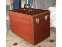 "Vintage Original 1970s Wooden 7"" Vinyl Custom Made LP Record Storage Case Box"