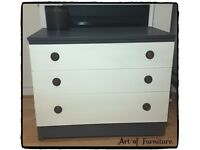 Chest Of 3 Drawers Hand Painted in Grey & Old White Chalk Paint