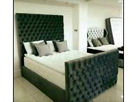 PARKER DELUXE BED DOUBLE/KING SIZE WITH/WITH OUT ORTHOPAEDIC MATTRESS DIFFERENT FABRIC AND COLOURS