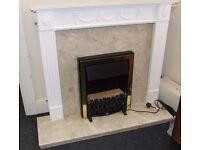 marble fireplace with surround and electric fire
