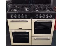 leisure 100cm wide range cooker double oven and grill all gas