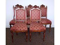 Beautiful Red 19th Century Swedish Walnut Chairs (5)