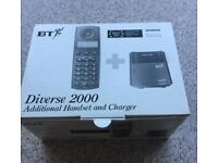 BT Diverse 2000 Additional Handset - new and boxed with charging pod and batteries