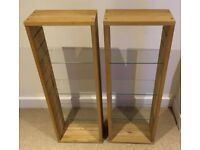 2 x IKEA wooden unit with glass shelves (media storage)