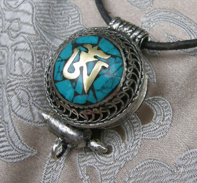 Great Tibetan Wooden Amulet Gau Nepal Silver Turquoise Om