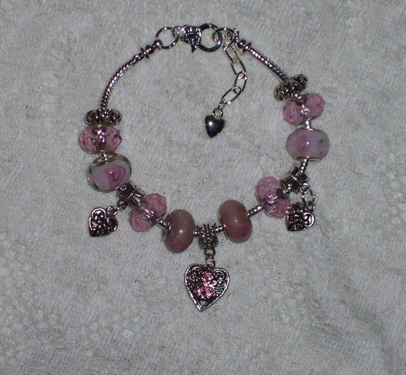 Breast Cancer Awareness Euro Style Murano & Pink Facets Handbeaded Bracelet