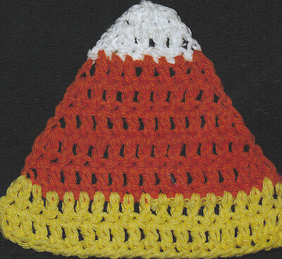 Crochet Pattern ~ CANDY CORN COASTER ~ Halloween, - Crochet Halloween Coasters